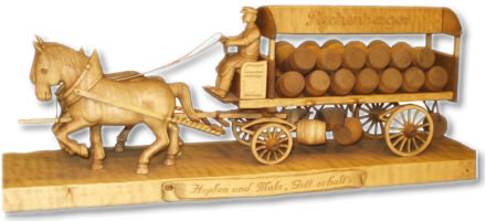 X-mas Season 2007 is coming -  soon ! carving carved carver xmas season christmas heiko morgenstern gift present carved brewery horse and cart, completely handmade